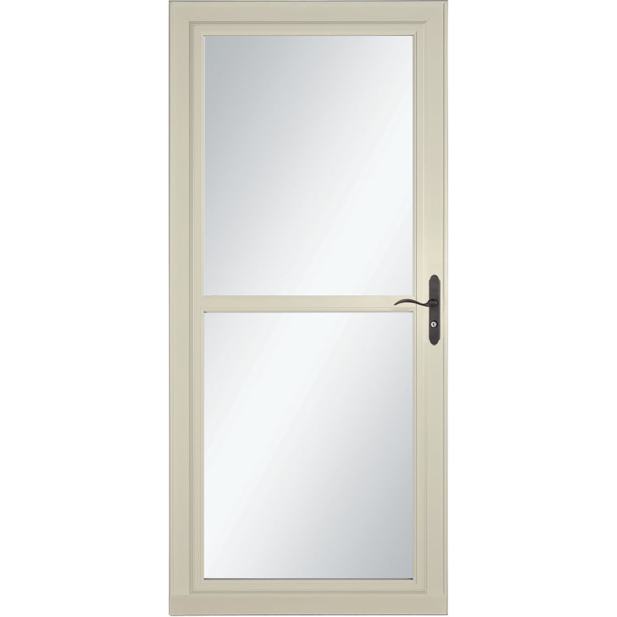 LARSON Tradewind Selection Almond Full-View Tempered Glass Retractable Storm Door (Common: 32-in x 81-in; Actual: 31.75-in x 79.75-in)