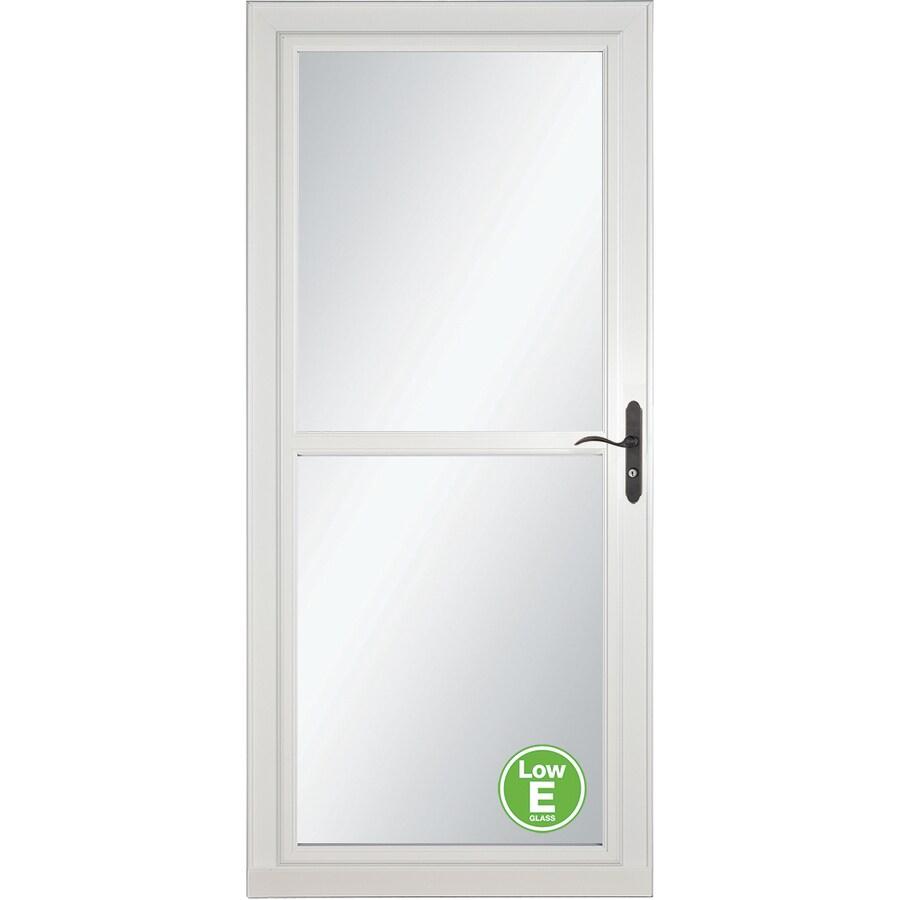 LARSON Tradewinds Low-E White Full-View Aluminum Storm Door with Retractable Screen (Common: 36-in x 81-in; Actual: 35.75-in x 79.75-in)