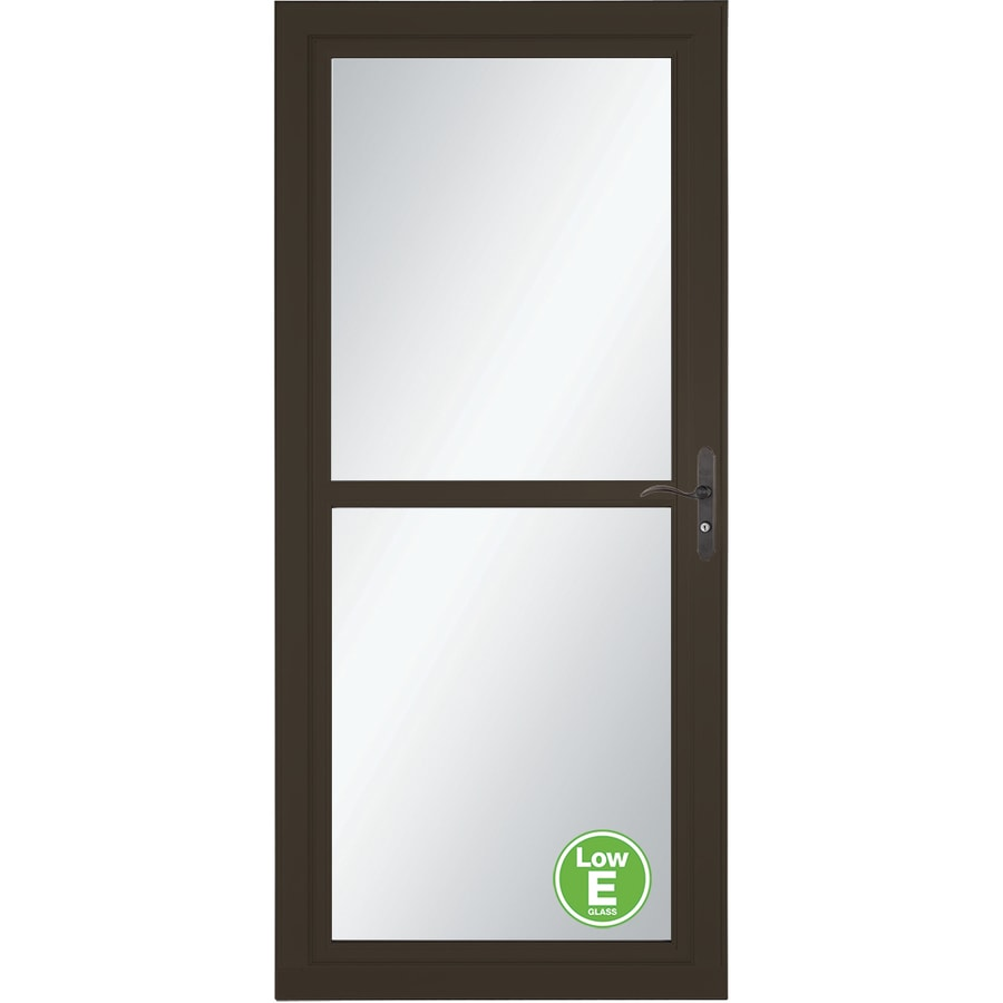 LARSON Tradewind Selection Brown Full-View Low-E Single Paned Glass Retractable Storm Door (Common: 32-in x 81-in; Actual: 31.75-in x 79.75-in)