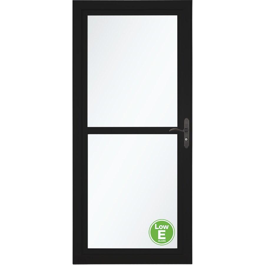 LARSON Tradewinds Low-E Black Full-View Aluminum Storm Door with Retractable Screen (Common: 32-in x 81-in; Actual: 31.75-in x 79.75-in)