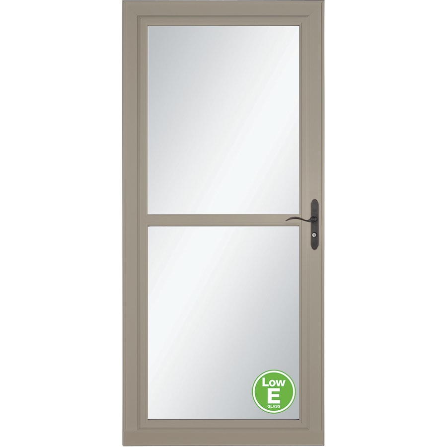 LARSON Tradewinds Low-E Sandstone Full-View Aluminum Storm Door with Retractable Screen (Common: 32-in x 81-in; Actual: 31.75-in x 79.75-in)