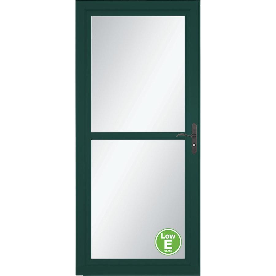 LARSON Tradewind Selection Green Full-View Aluminum Storm Door with Retractable Screen (Common: 32-in x 81-in; Actual: 31.75-in x 79.75-in)