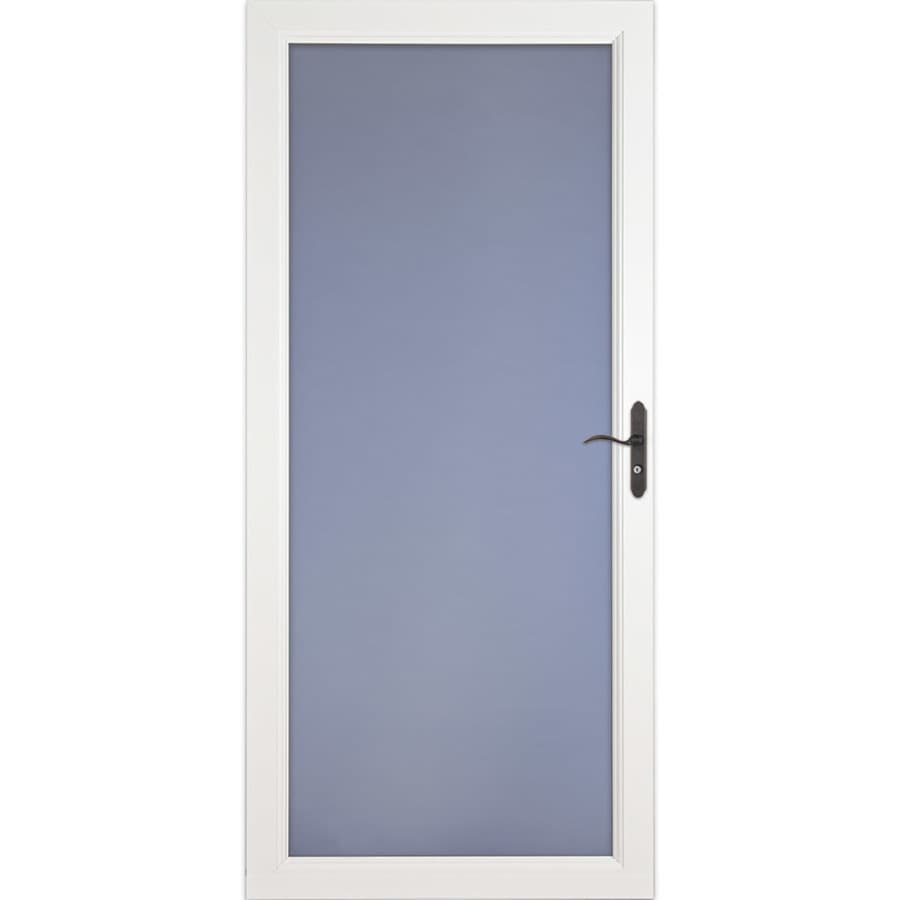 LARSON Signature Selection White Full-View Tempered Glass Fully Interchangeable Storm Door (Common: 32-in x 81-in; Actual: 31.75-in x 79.75-in)