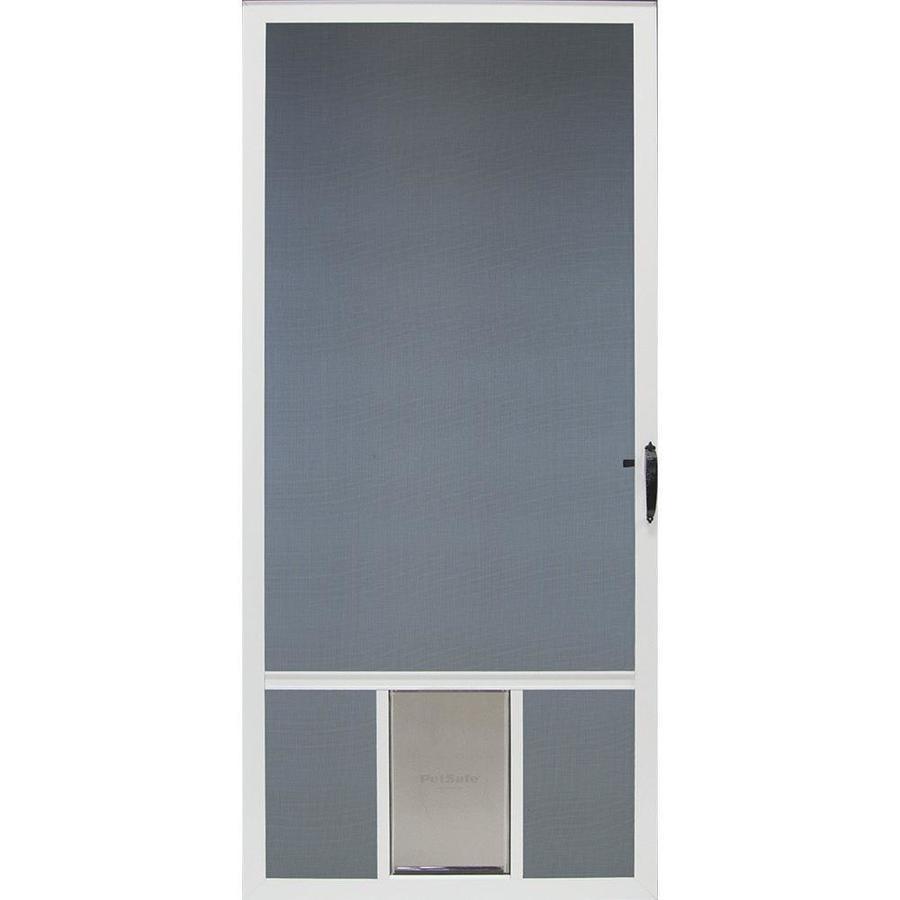 Comfort-Bilt Pet Breeze White Aluminum Hinged Screen Door with Pet Door (Common: 32-in x 81-in; Actual: 31.875-in x 80-in)