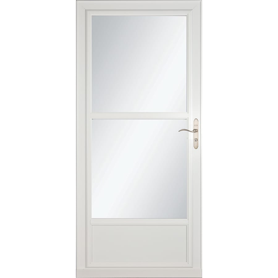 LARSON Tradewinds Selection White Mid-View Aluminum Storm Door with Retractable Screen (Common: 32-in x 81-in; Actual: 31.75-in x 79.75-in)