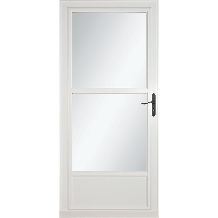 LARSON Tradewinds Selection White Mid-View Aluminum Storm Door with Retractable Screen (Common: 36-in x 81-in; Actual: 35.75-in x 79.75-in)