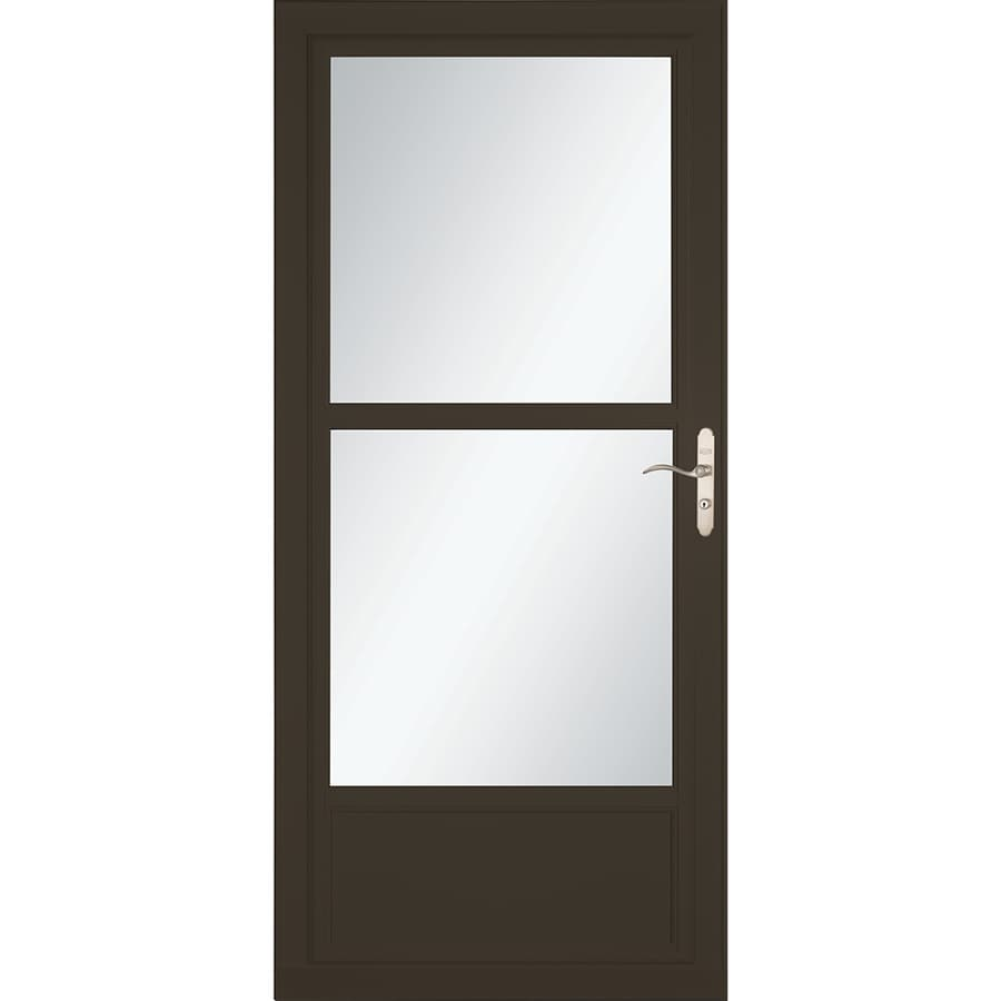 LARSON Tradewinds Selection Brown Mid-View Aluminum Storm Door with Retractable Screen (Common: 32-in x 81-in; Actual: 31.75-in x 79.75-in)