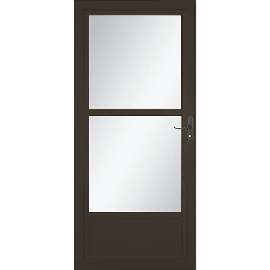LARSON Tradewinds Selection Brown Mid-View Aluminum Storm Door with Retractable Screen (Common: 36-in x 81-in; Actual: 35.75-in x 79.75-in)
