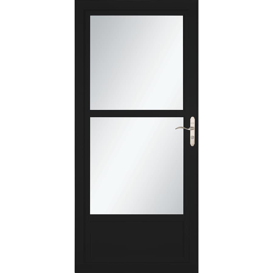 LARSON Tradewinds Selection Black Mid-View Aluminum Storm Door with Retractable Screen (Common: 36-in x 81-in; Actual: 35.75-in x 79.75-in)