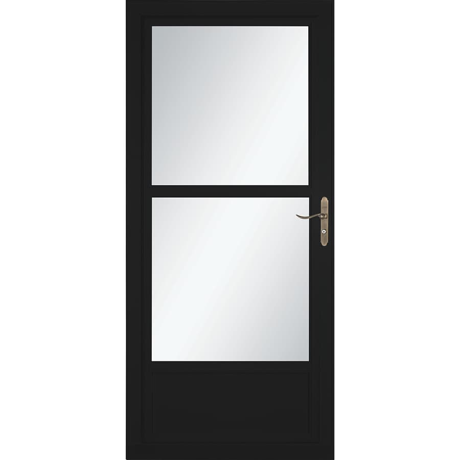 LARSON Tradewinds Selection Black Mid-View Tempered Glass Retractable Aluminum Storm Door (Common: 36-in x 81-in; Actual: 35.75-in x 79.75-in)