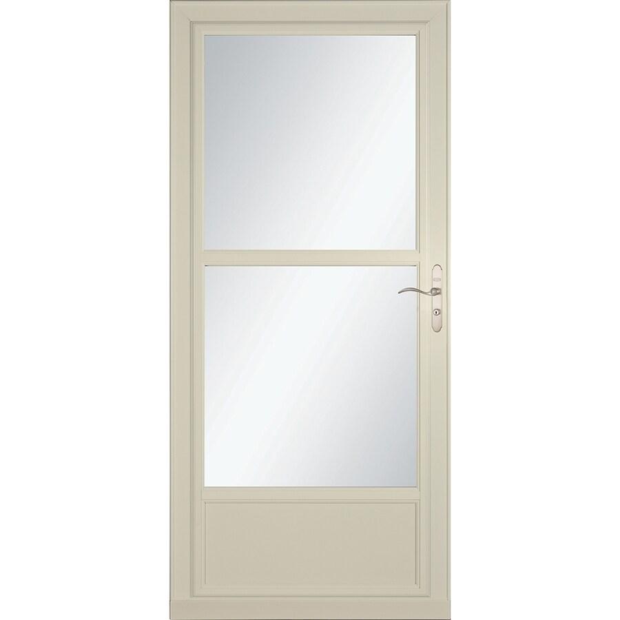 LARSON Tradewinds Selection Almond Mid-View Aluminum Storm Door with Retractable Screen (Common: 36-in x 81-in; Actual: 35.75-in x 79.75-in)