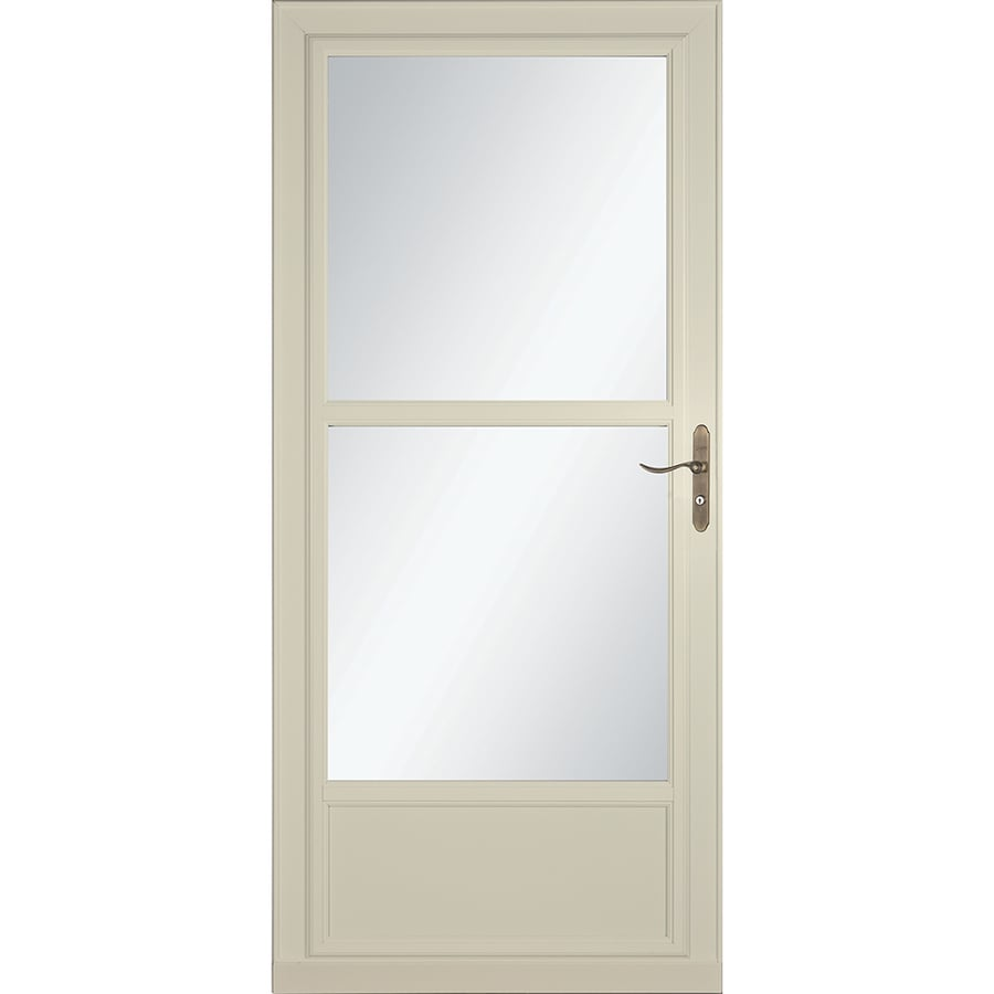 Shop larson tradewinds selection almond mid view aluminum for Storm door with screen