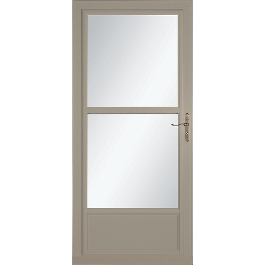 LARSON Tradewinds Selection Sandstone Mid-View Aluminum Storm Door with Retractable Screen (Common: 32-in x 81-in; Actual: 31.75-in x 79.75-in)
