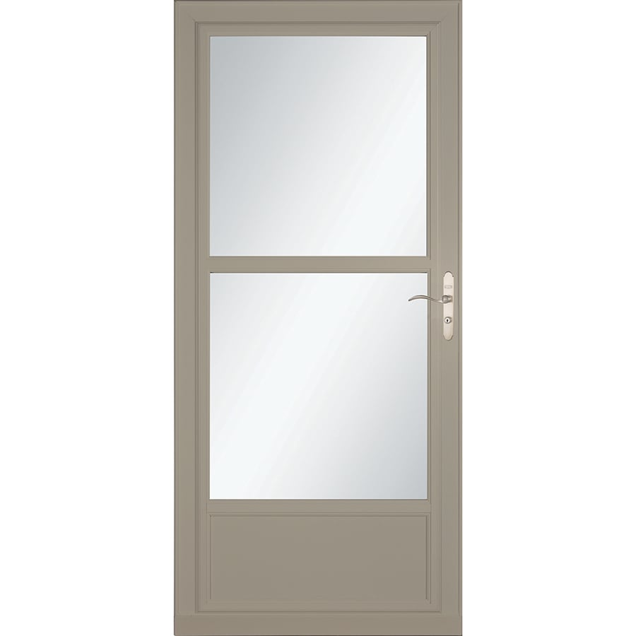 LARSON Tradewinds Selection Sandstone Mid-View Aluminum Storm Door with Retractable Screen (Common: 36-in x 81-in; Actual: 35.75-in x 79.75-in)