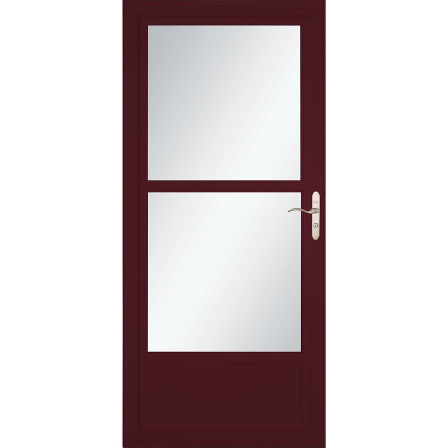LARSON Tradewinds Selection Cranberry Mid-View Aluminum Storm Door with Retractable Screen (Common: 32-in x 81-in; Actual: 31.75-in x 79.75-in)