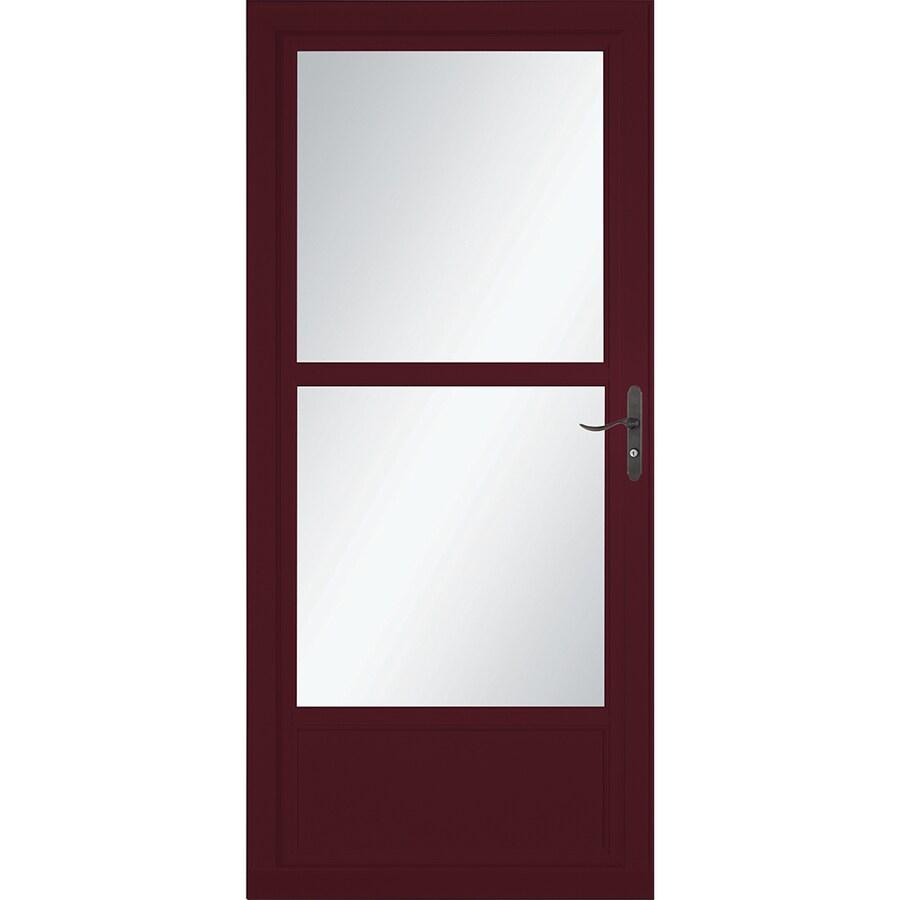 Shop larson tradewinds cranberry mid view aluminum storm for What is a retractable screen door