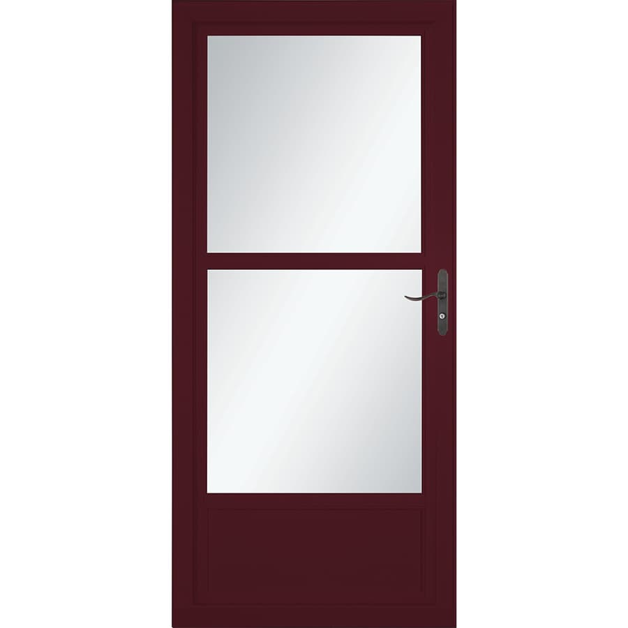 LARSON Tradewinds Selection Cranberry Mid-View Aluminum Storm Door with Retractable Screen (Common: 36-in x 81-in; Actual: 35.75-in x 79.75-in)