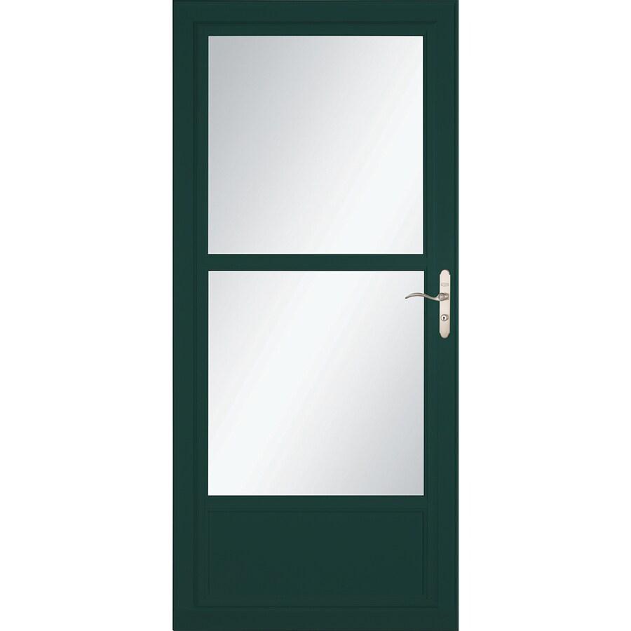 LARSON Tradewinds Selection Green Mid-View Aluminum Storm Door with Retractable Screen (Common: 32-in x 81-in; Actual: 31.75-in x 79.75-in)
