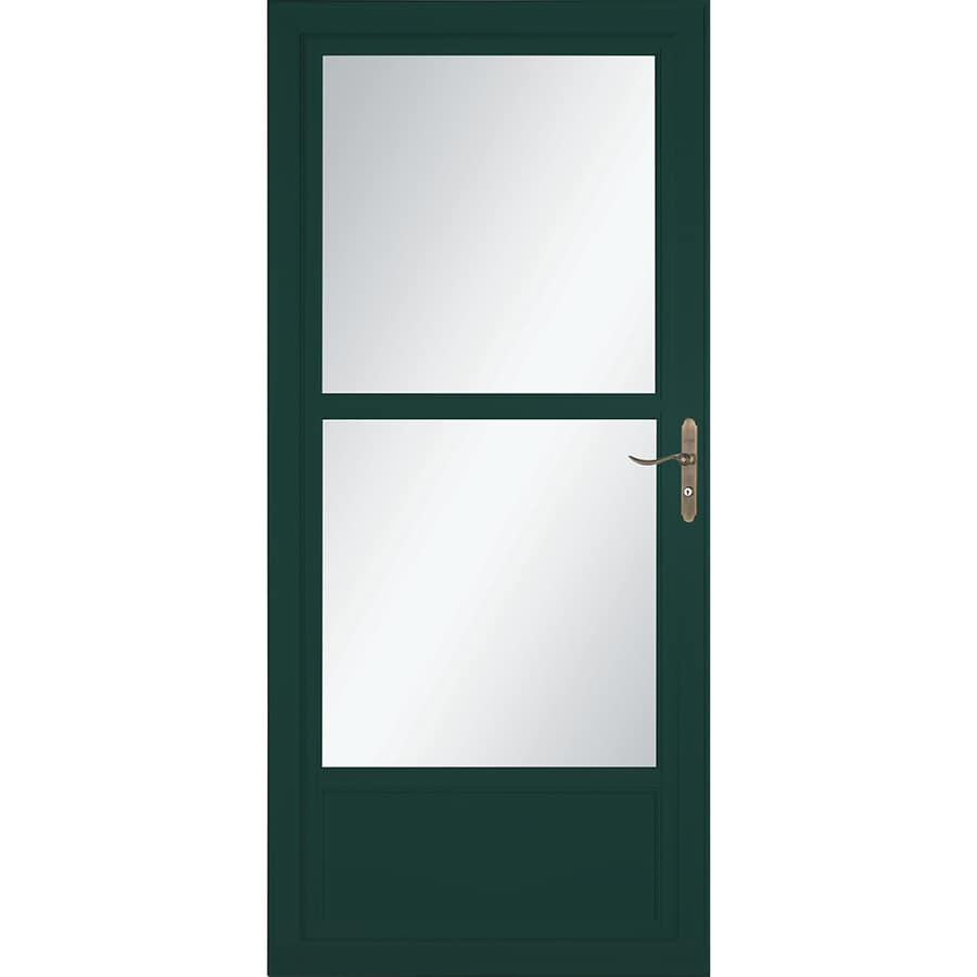 LARSON Tradewinds Selection Green Mid-View Aluminum Storm Door with Retractable Screen (Common: 32-in x 81-in; Actual: 31.75-in x 79.75-in)