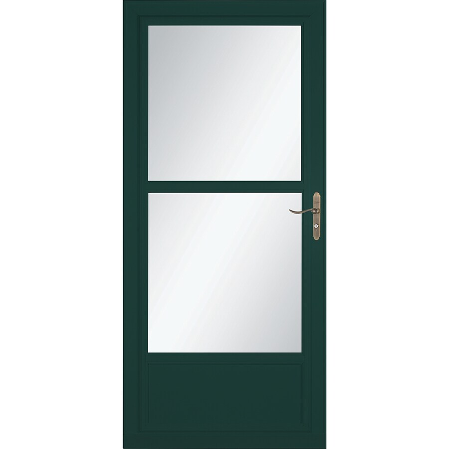 LARSON Tradewinds Selection Green Mid-View Aluminum Storm Door with Retractable Screen (Common: 36-in x 81-in; Actual: 35.75-in x 79.75-in)