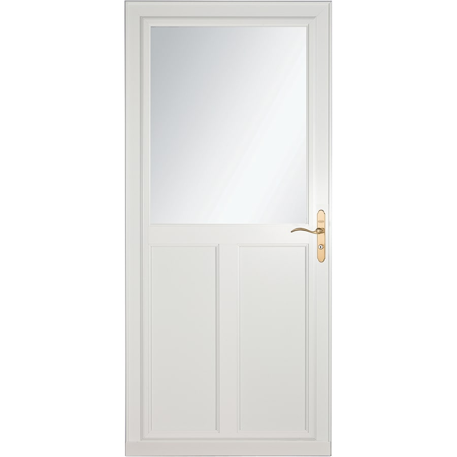Shop larson tradewinds selection white high view aluminum for Storm door with retractable screen