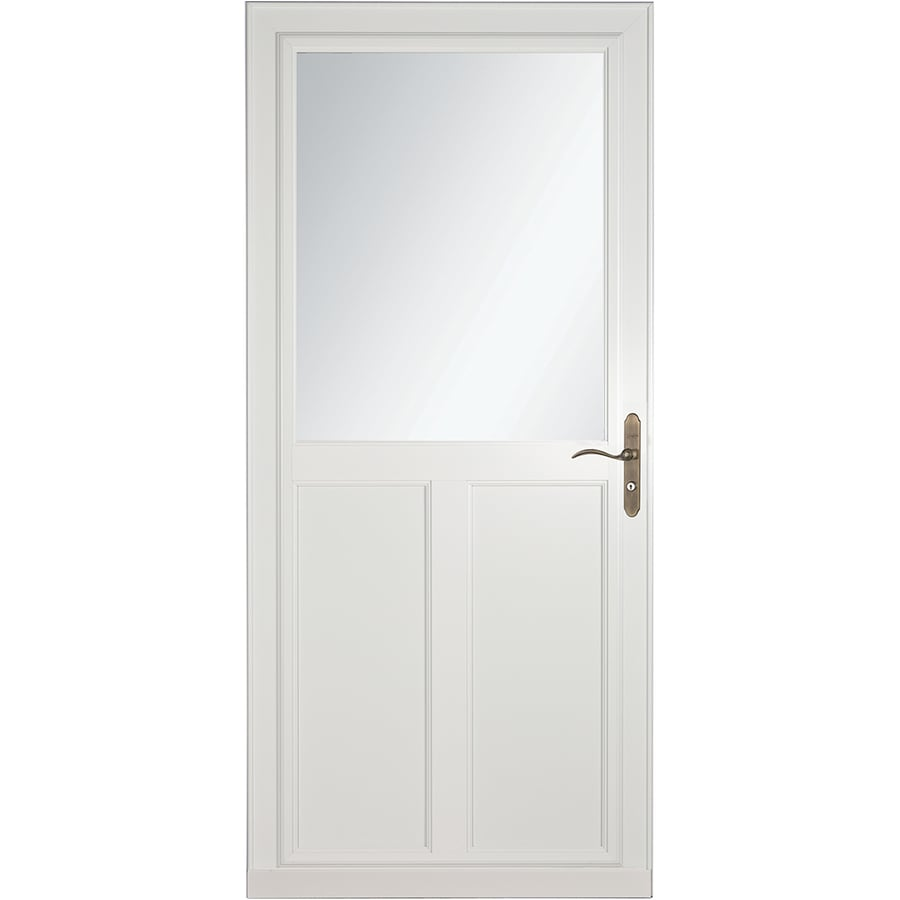 Shop larson tradewinds selection white high view aluminum for Retractable screen door white
