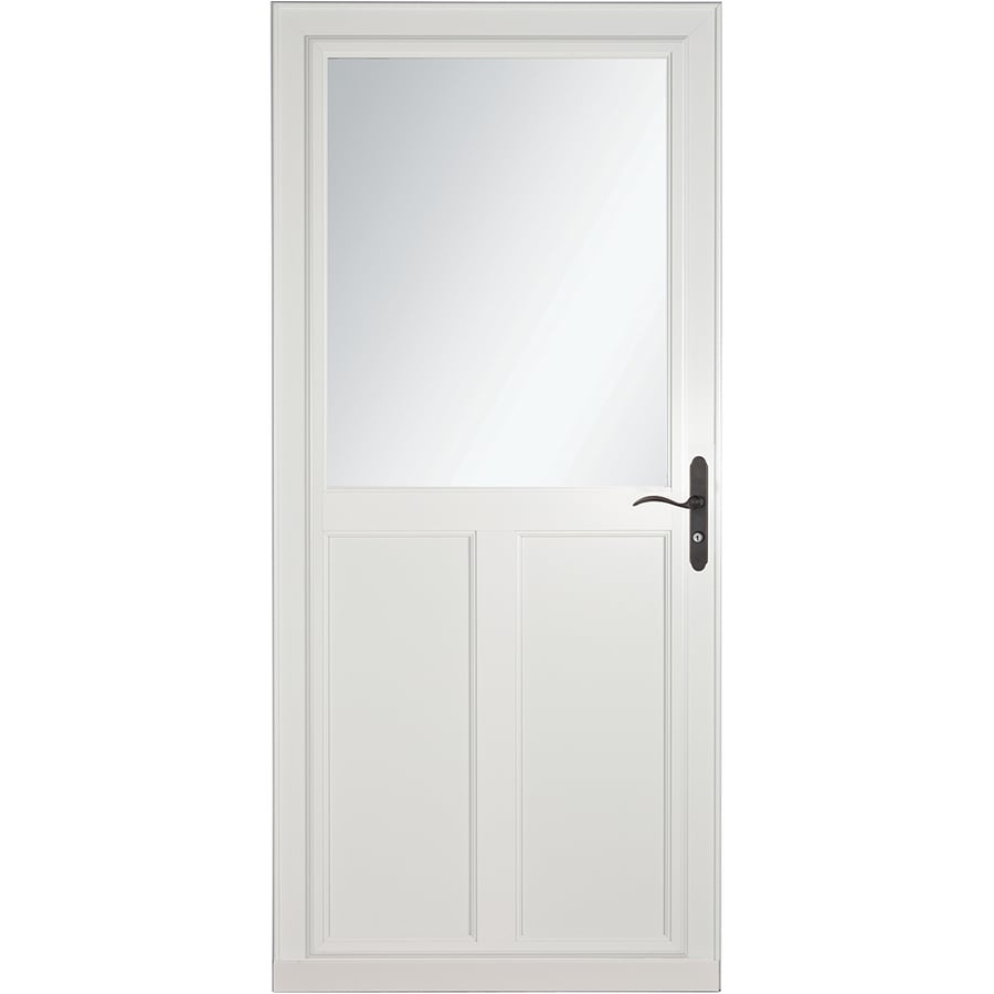 LARSON Tradewinds Selection White High-View Aluminum Storm Door with Retractable Screen (Common: 36-in x 81-in; Actual: 35.75-in x 79.75-in)