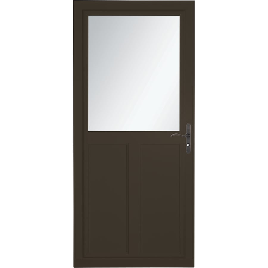 Shop larson tradewinds selection brown high view aluminum for Disappearing screen doors lowes