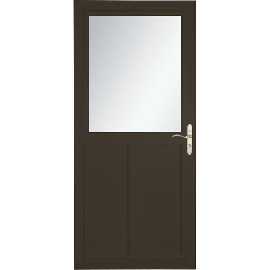 LARSON Tradewinds Selection Brown High-View Aluminum Storm Door with Retractable Screen (Common: 36-in x 81-in; Actual: 35.75-in x 79.75-in)