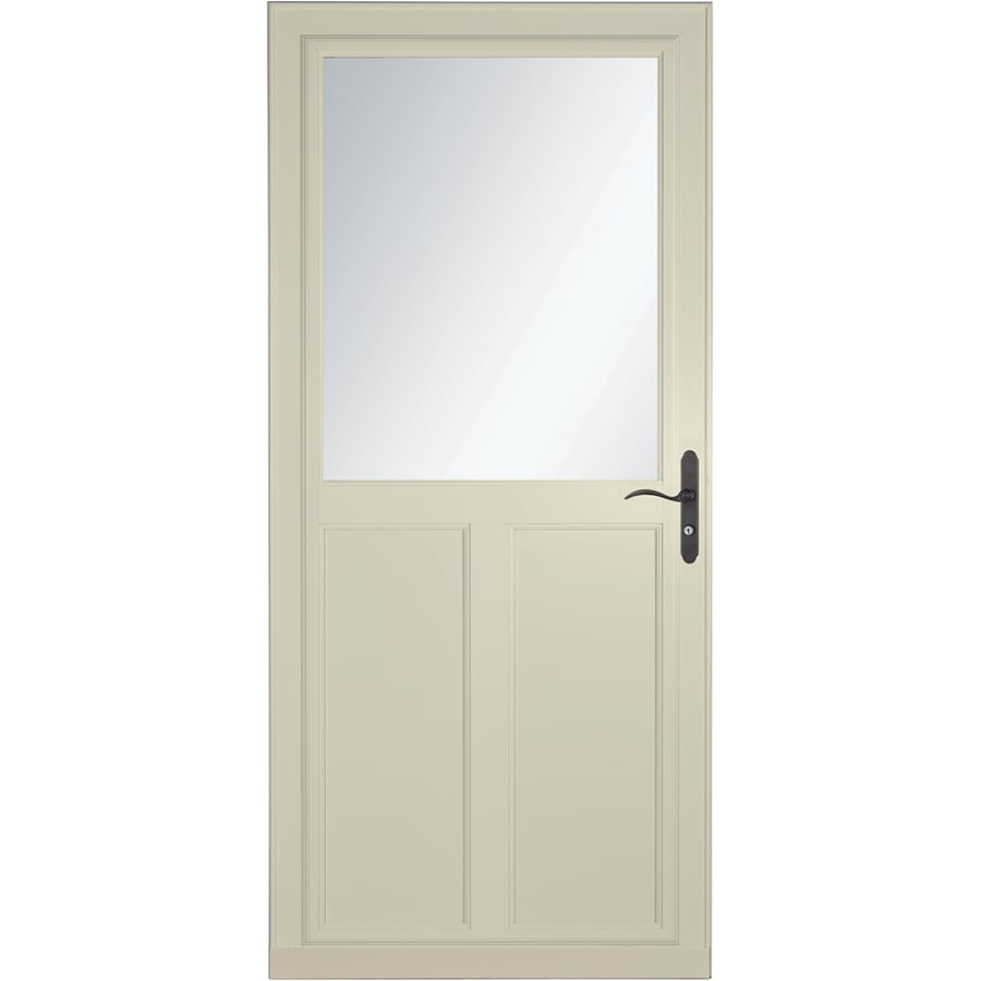 Shop larson tradewinds almond high view aluminum storm for Best rated retractable screen doors