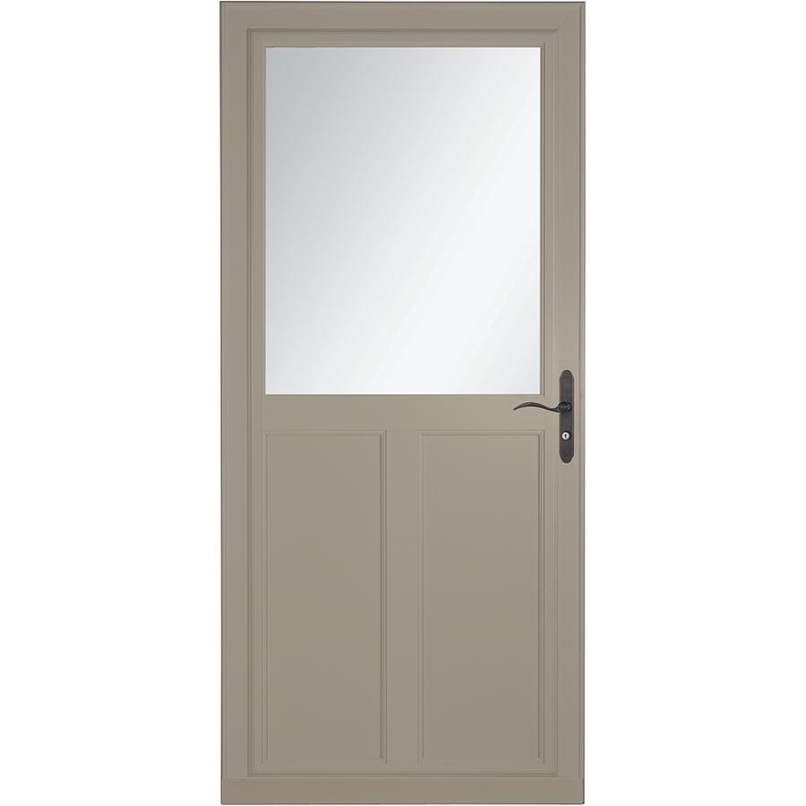 LARSON Tradewinds Selection Sandstone High-View Aluminum Storm Door with Retractable Screen (Common: 32-in x 81-in; Actual: 31.75-in x 79.75-in)