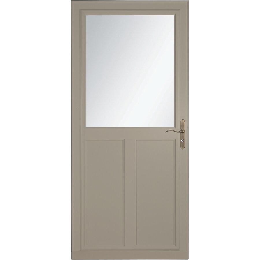 LARSON Tradewinds Selection Sandstone High-View Aluminum Storm Door with Retractable Screen (Common: 36-in x 81-in; Actual: 35.75-in x 79.75-in)
