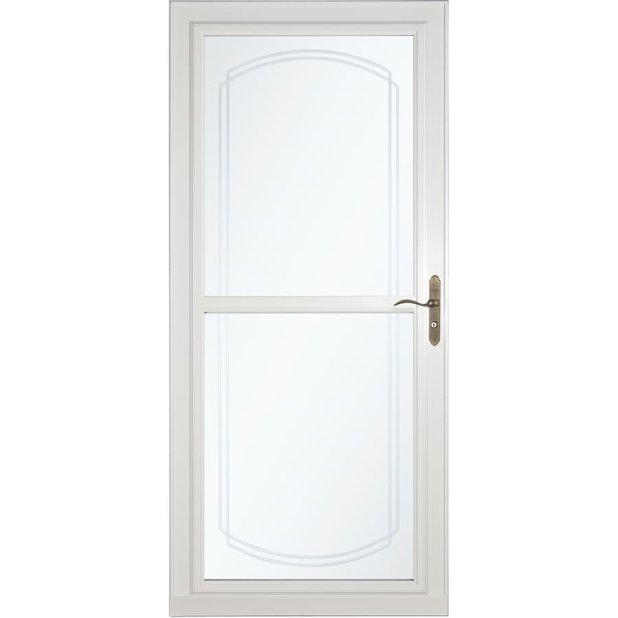 Shop larson tradewinds bevel white full view aluminum for Retractable screen door
