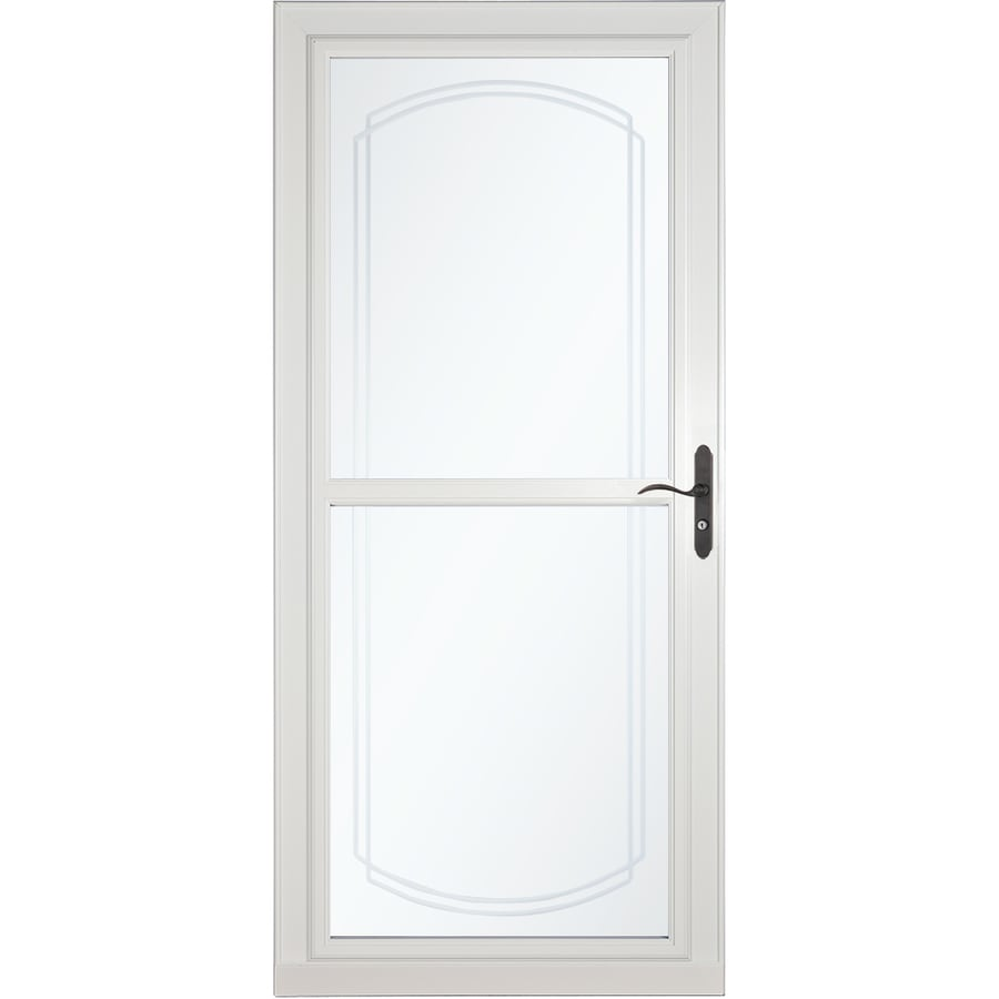 LARSON Tradewinds Selection White Full-View Aluminum Storm Door with Retractable Screen (Common: 36-in x 81-in; Actual: 35.75-in x 79.75-in)