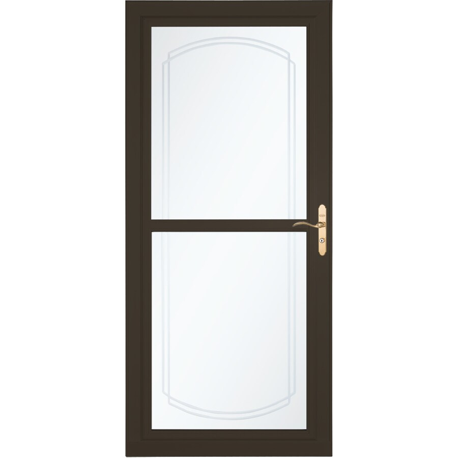 Shop larson tradewinds selection brown full view aluminum for Storm door with screen on top