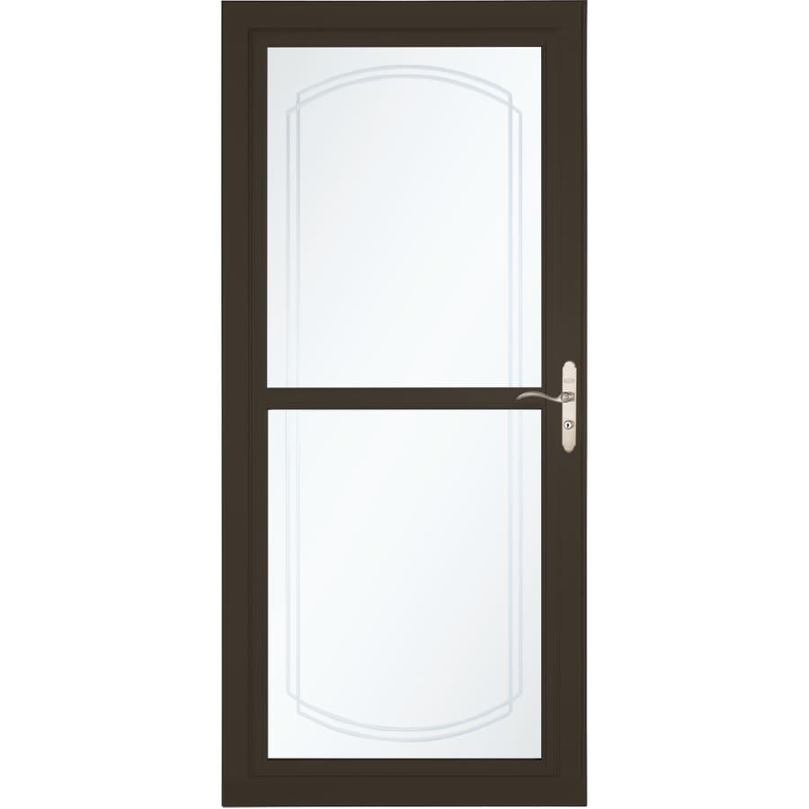 LARSON Tradewinds Selection Brown Full-View Aluminum Storm Door with Retractable Screen (Common: 36-in x 81-in; Actual: 35.75-in x 79.75-in)