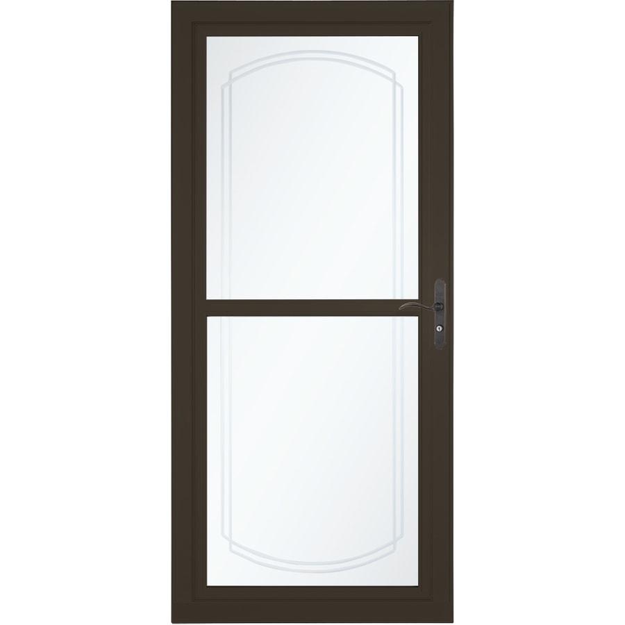LARSON Tradewinds Bevel Brown Full View Aluminum Storm Door With  Retractable Screen (Common: