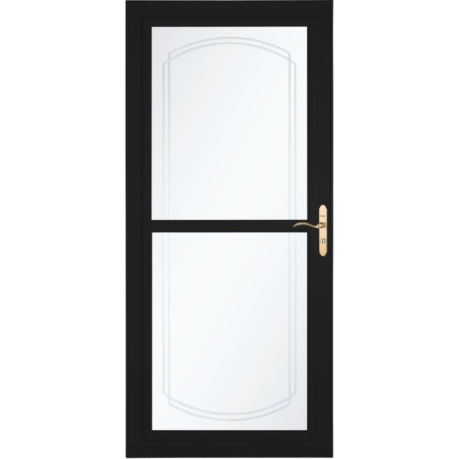 LARSON Tradewinds Selection Black Full-View Aluminum Storm Door with Retractable Screen (Common: 36-in x 81-in; Actual: 35.75-in x 79.75-in)
