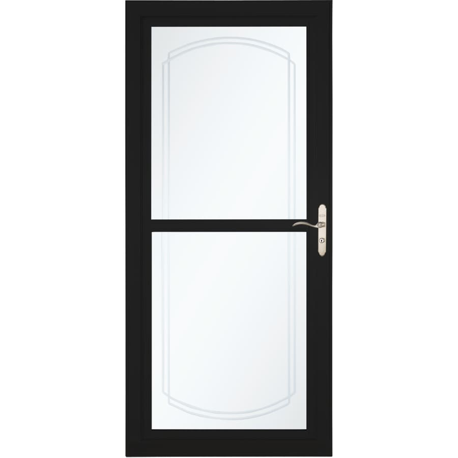 LARSON Tradewinds Selection Black Full-View Aluminum Storm Door with Retractable Screen (Common: 36-in x 81-in; Actual: 35.75-in x 79.75-in)