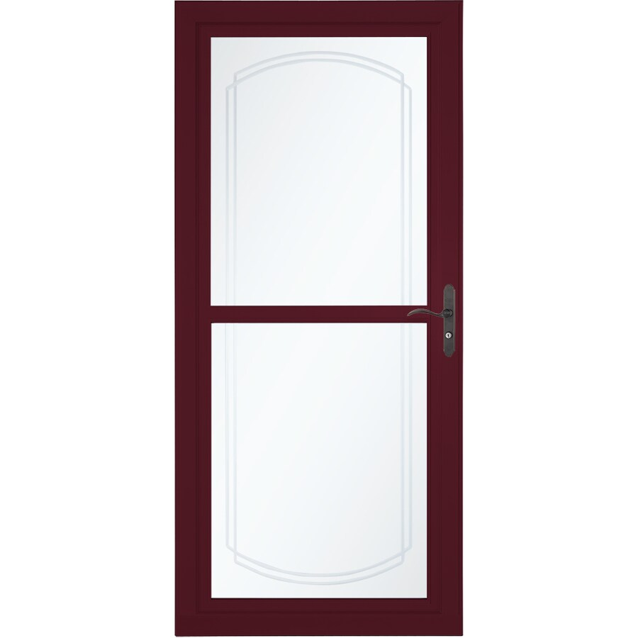 Shop larson tradewinds bevel cranberry full view aluminum for Full glass screen door