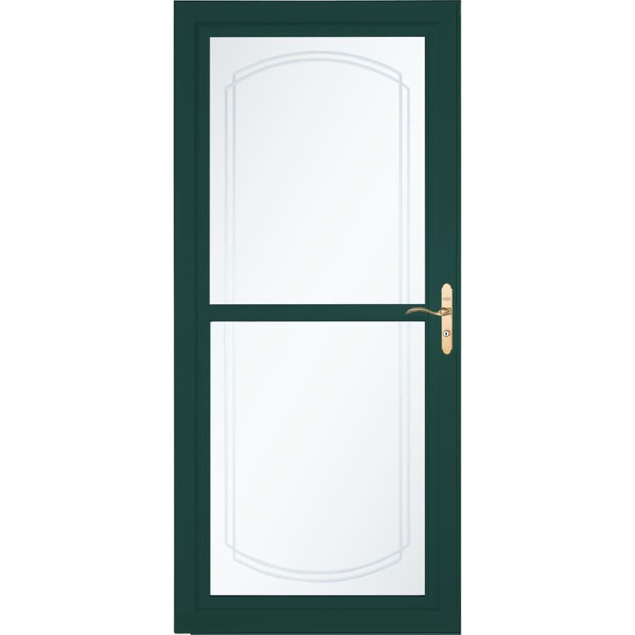 LARSON Tradewinds Selection Green Full-View Aluminum Storm Door with Retractable Screen (Common: 36-in x 81-in; Actual: 35.75-in x 79.75-in)