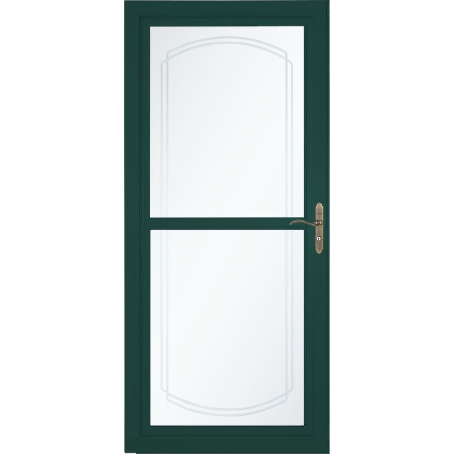 LARSON Tradewinds Selection Green Full-view Aluminum Retractable Screen Storm Door (Common: 36-in x 81-in; Actual: 35.75-in x 79.75-in)