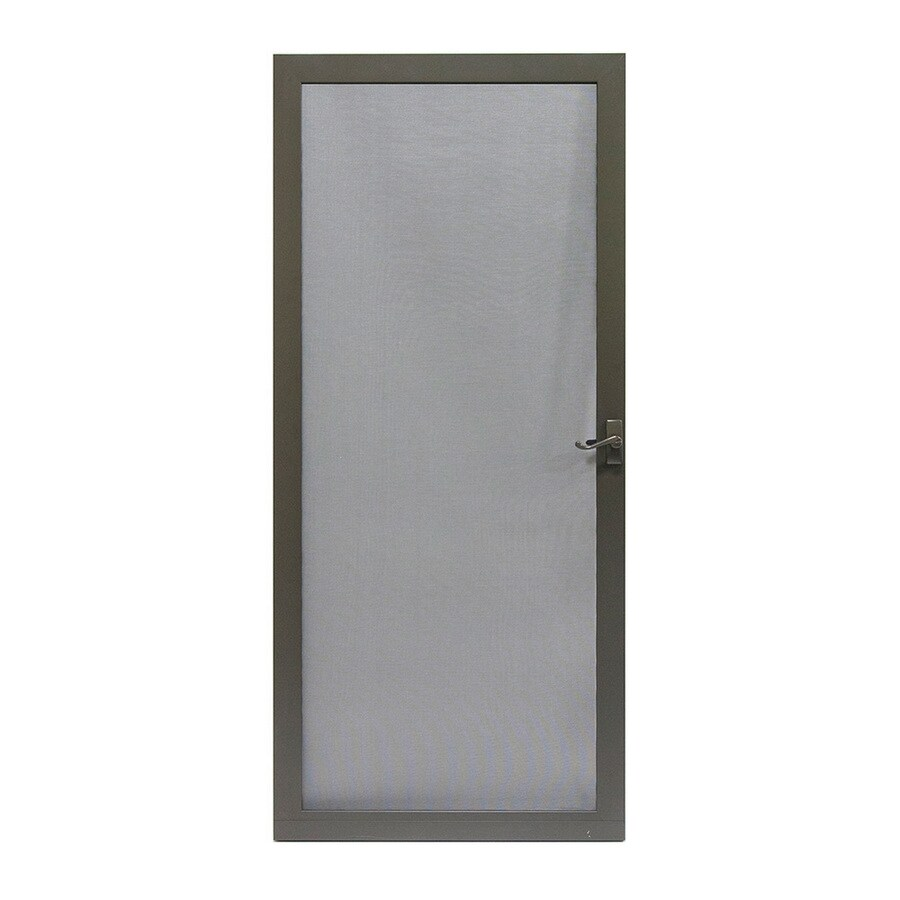 LARSON Pembrook Brown Aluminum Hinged Screen Door (Common: 32-in x 81-in; Actual: 31.75-in x 79.75-in)
