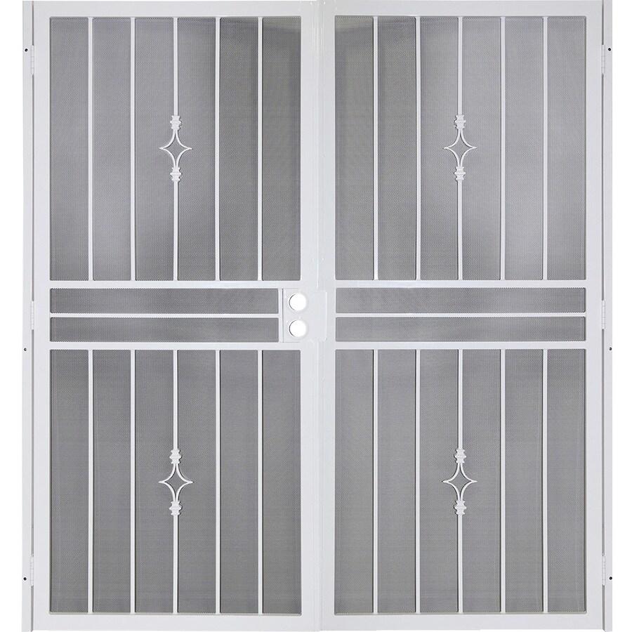 Shop gatehouse covington white steel surface mount double for Double security doors