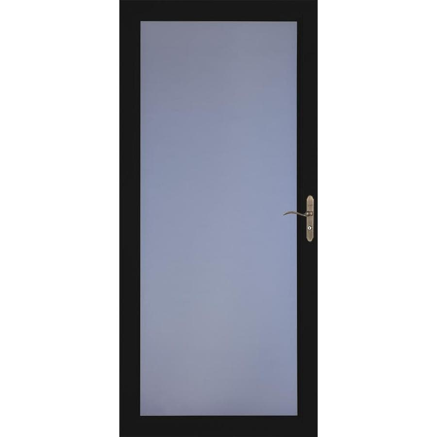 LARSON Signature Premium Black Full-View Aluminum Standard Storm Door (Common: 36-in x 81-in; Actual: 35.75-in x 79.75-in)