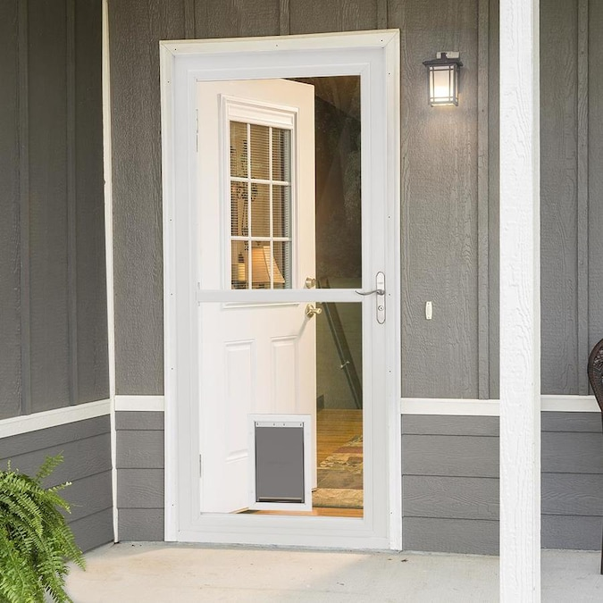 Larson Tradewinds Pet Door 36 In X 81 In White Full View Aluminum Storm Door In The Storm Doors Department At Lowes Com Our front doors provide a beautiful and sturdy entrance for your home. lowe s