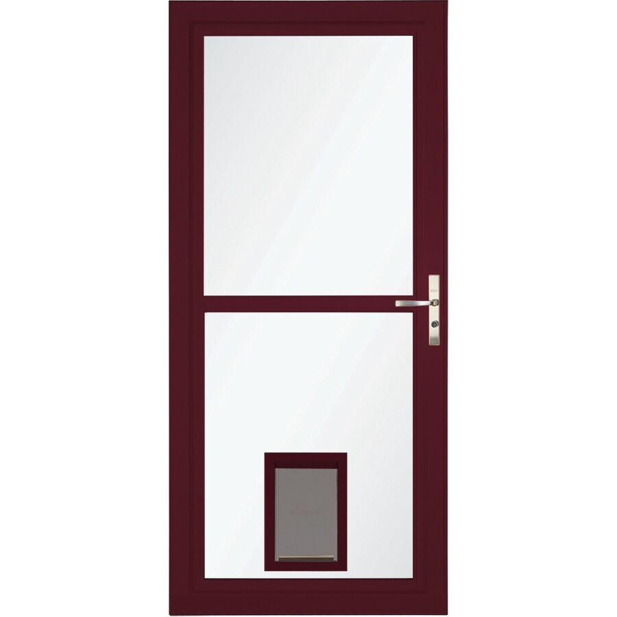 LARSON Tradewinds Cranberry Full View Aluminum Storm Door With Pet Door  (Common: 32