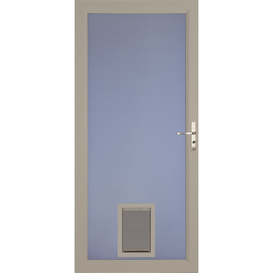 Larson Signature Pet Door Sandstone Full View Aluminum Storm Common 32 In X 81 Actual 31 75 79