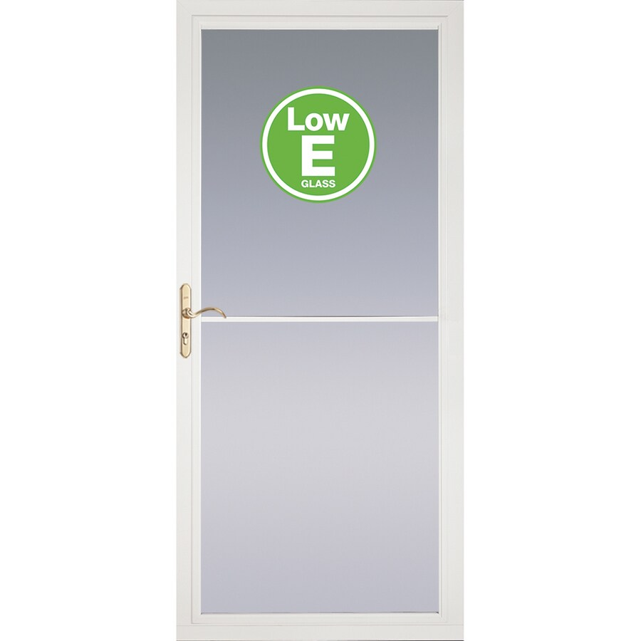 Shop Pella Rolscreen White Full View Aluminum Storm Door Common 32