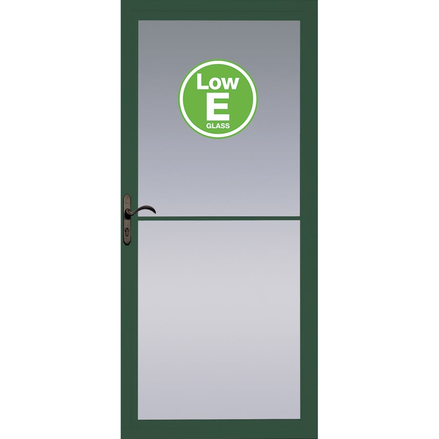 Shop Pella Rolscreen Green Full View Aluminum Storm Door With